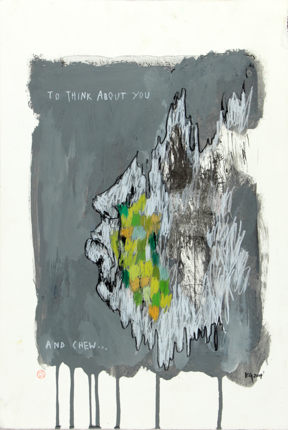 To Think About You and Chew, 2014   Acrylic on paper   20 x 13 3/4 in.