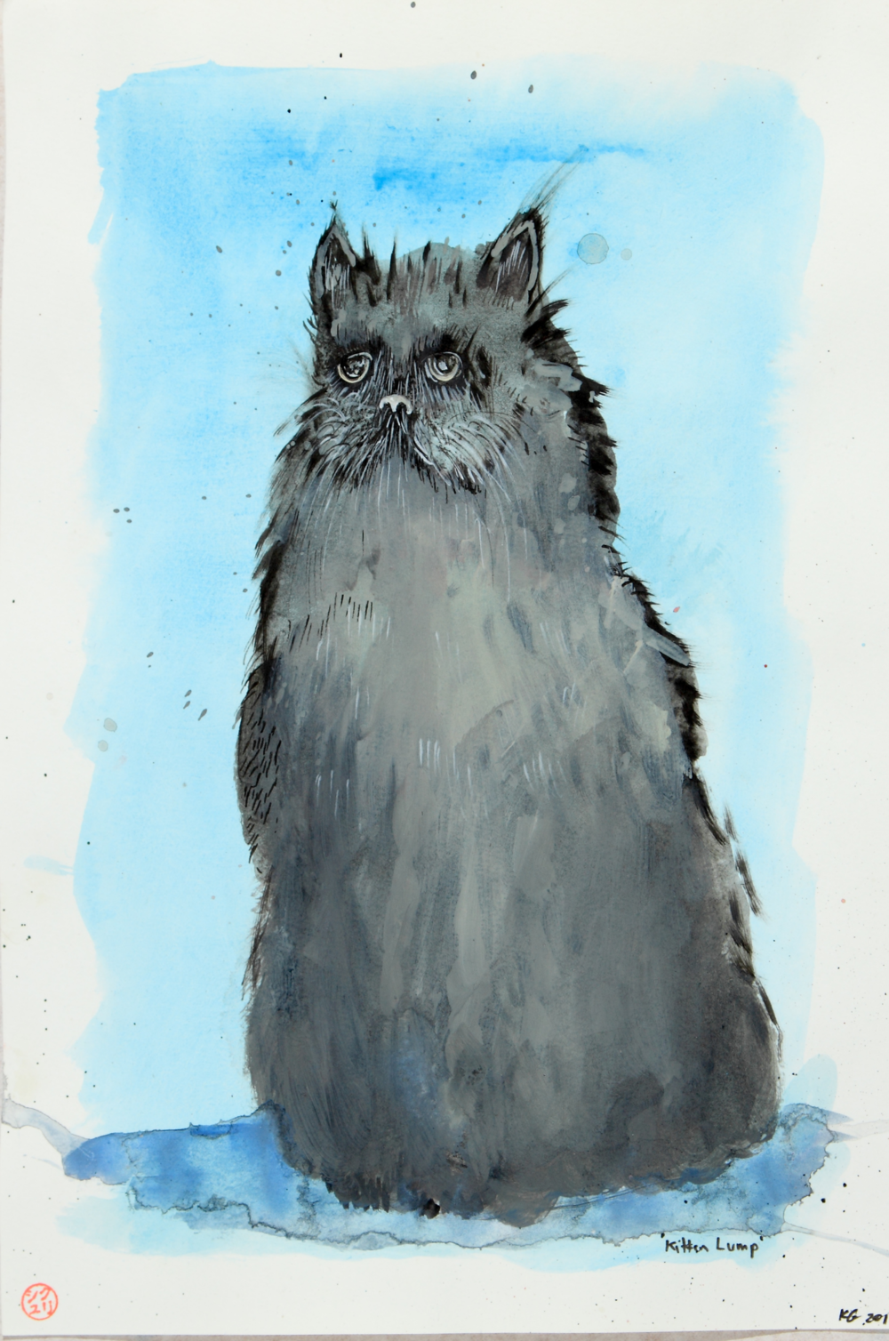 Kitten Lump, 2014 [private collection NY, NY] Watercolor on paper 9 1/2 x 13 1/2 in.