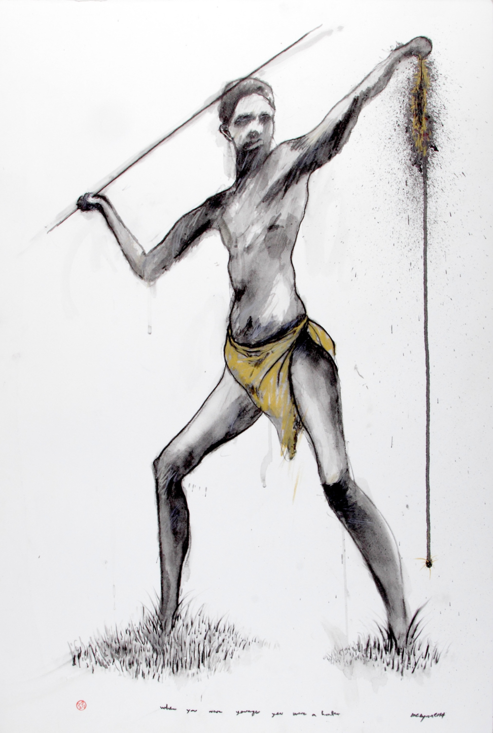 When You Were Younger You Were A Hunter, 2014 Graphite, Acrylic on paper 27 1/2 x 19 3/4 in.