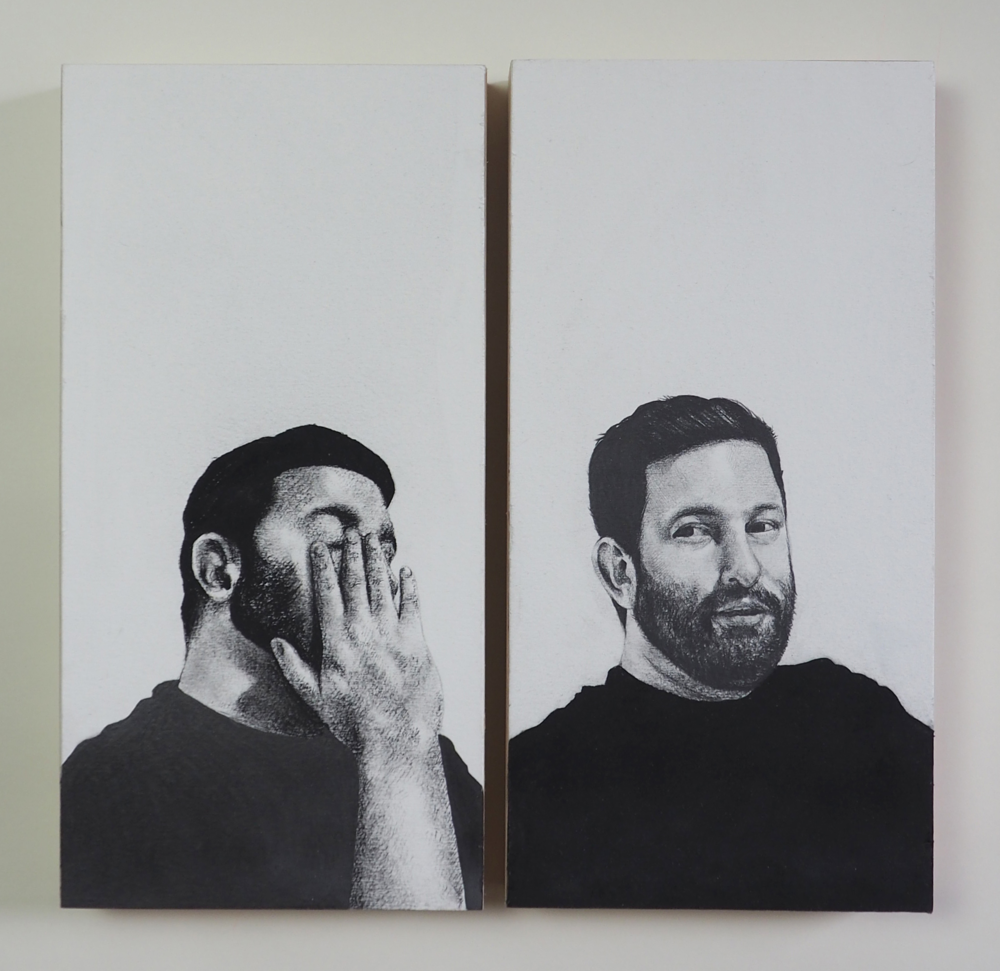 Joe  [in   resp  onse to Gabriel Giucci Studio visit, Bushwick, NY  ], 2015    Graphite, Charcoal on Panel   16 x 8 in. (each)