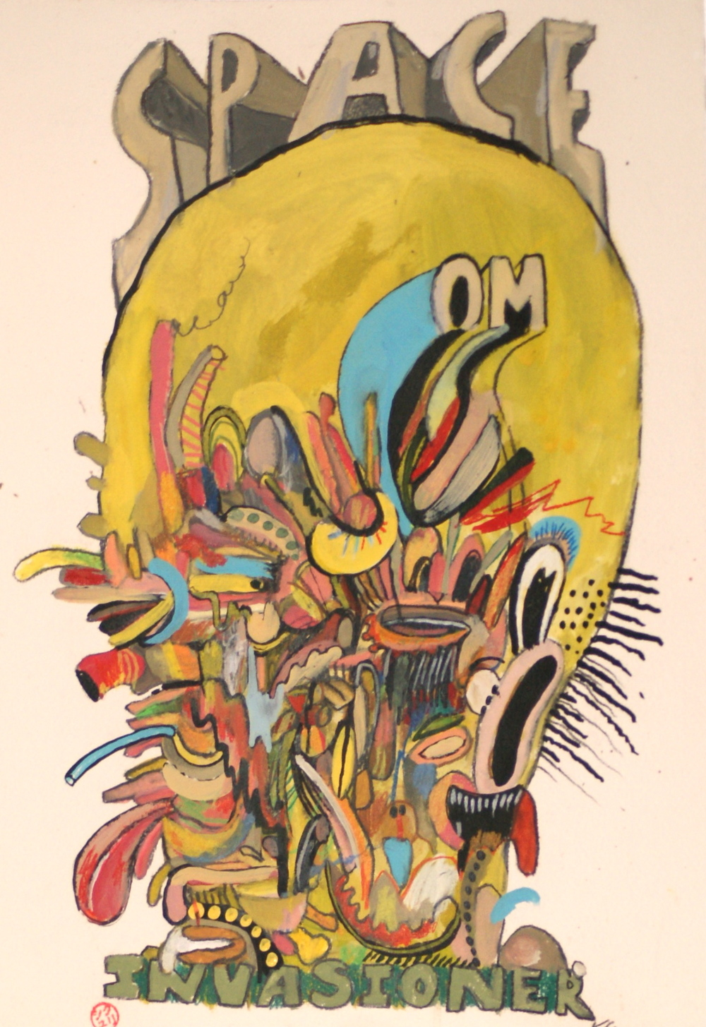 Space Om Invasioner, 2015 [private collection Brooklyn, NY] Acrylic on paper 16 x 12 in.