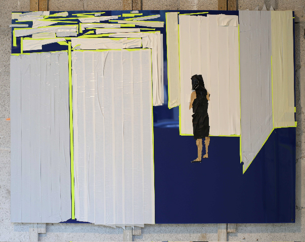 Maze 2 , 2013   Tape on Plexi Glass   36 x 48 in.