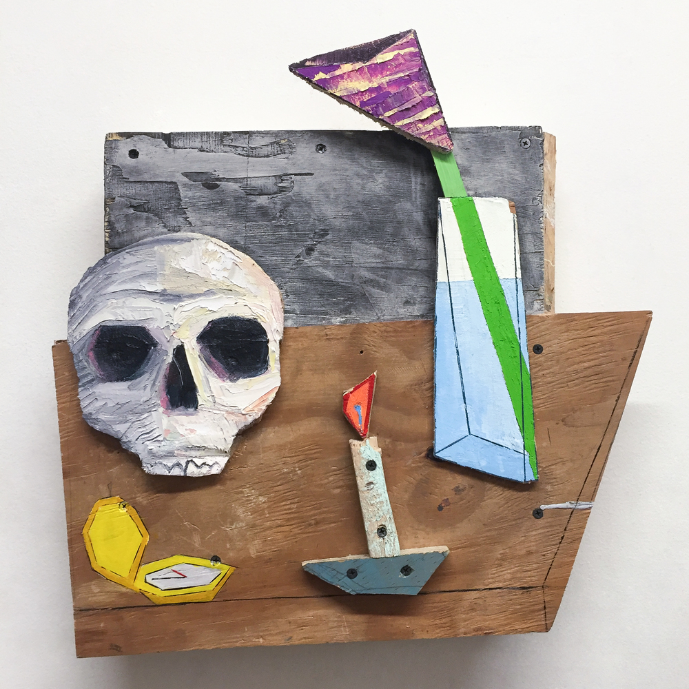 Memento Mori III, 2016 [private collection NY, NY]  Wood, Screws, Acrylic, Oil 20 x 19 x 4 in.