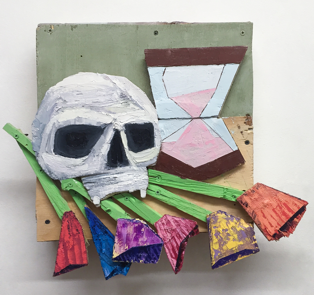 Memento Mori I, 2016 Wood, Screws, Acrylic, Oil 18 x 20 x 4 in.