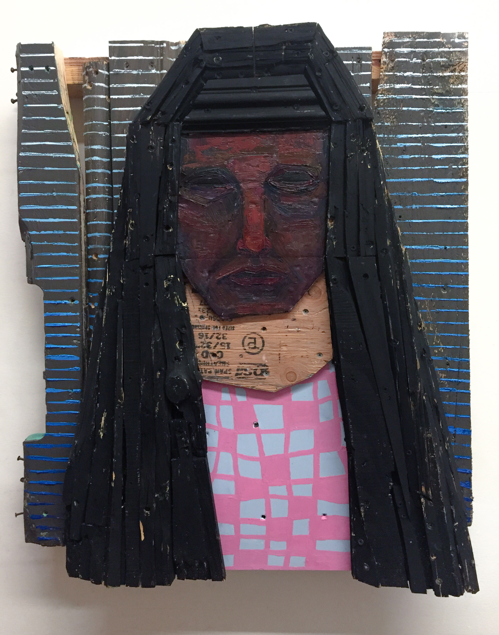 Oracle, 2016 Wood, Screws, Acrylic, Oil 31 x 26 x 7 in.