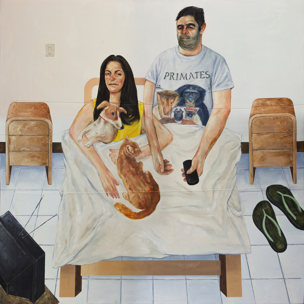 Frida, Misifú, Toya y Kiko (Portrait of my Parents), 2015 Oil on Canvas 72 x 72 in.