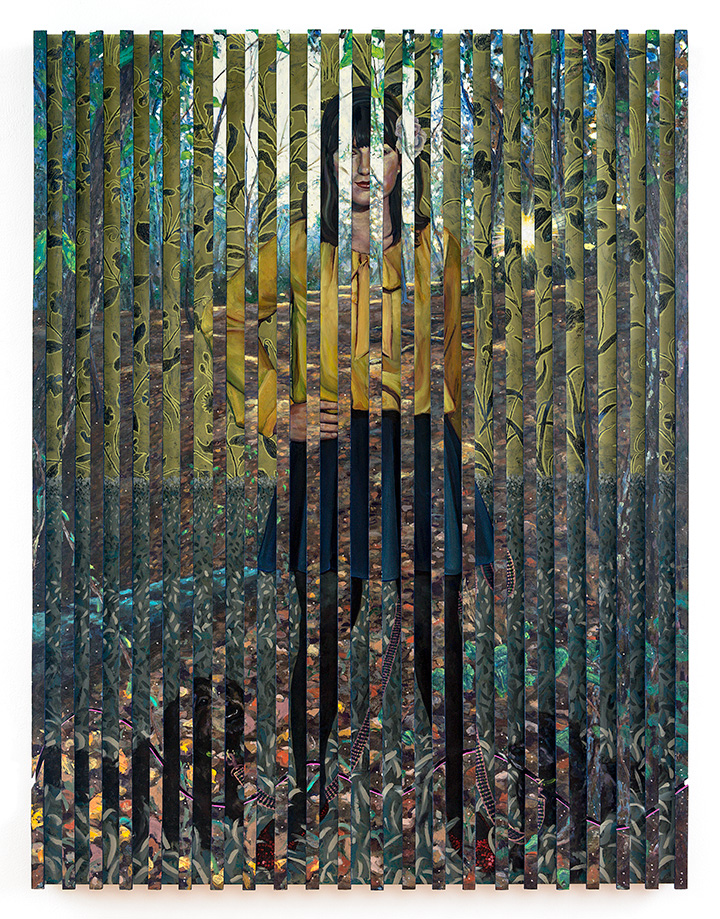 Of walls and bars, To night free infinity, 2015 [private collection Tel Aviv, Israel]  Acrylic and Oil on Multiple Wood Panels 62 x 48 x 3 in.