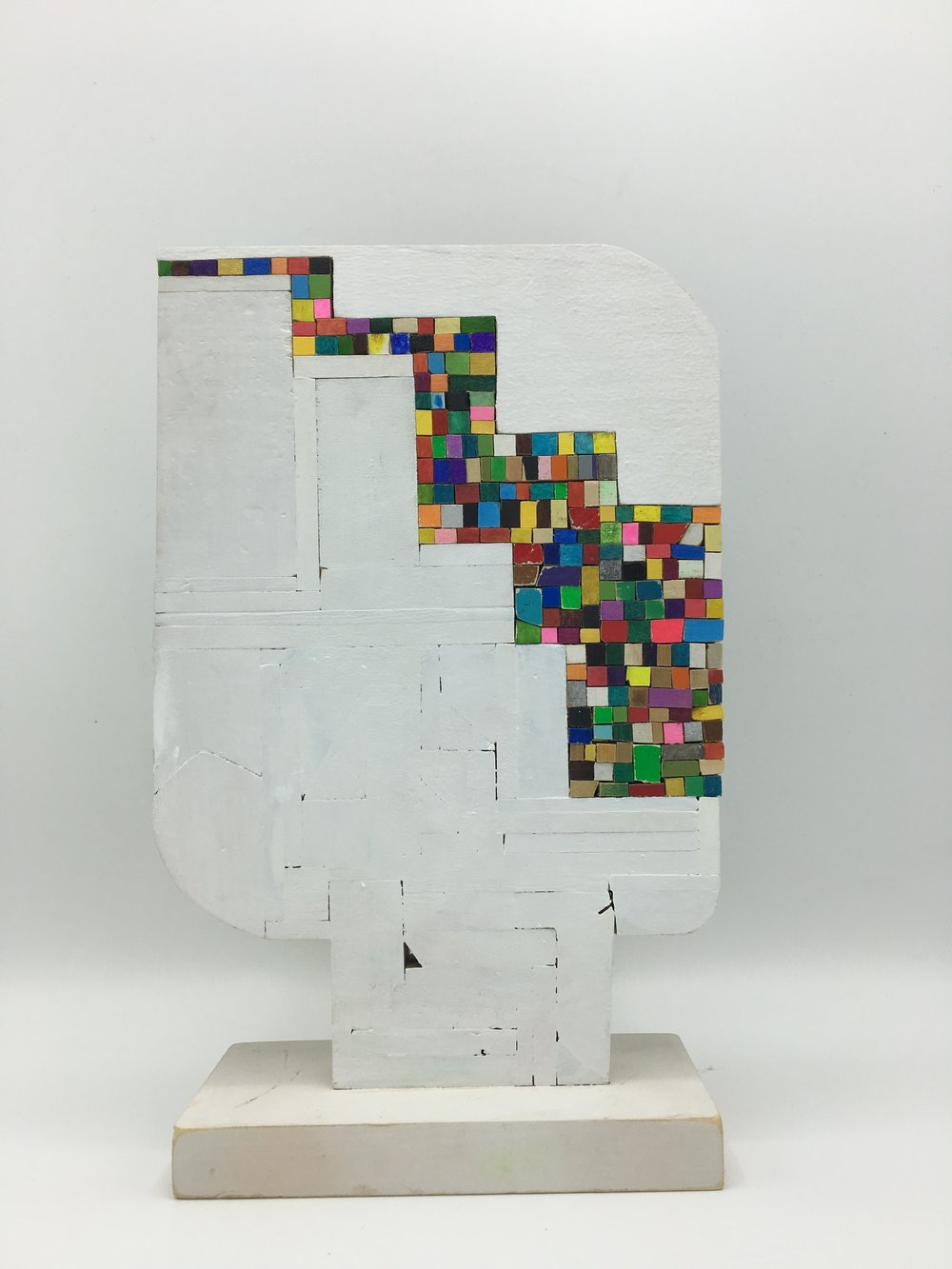 8 Bit , 2016 [private collection New York, NY] Wood, Paint, Colored Pencil, Glue 10 ½ x 6 ½ x 3 in.