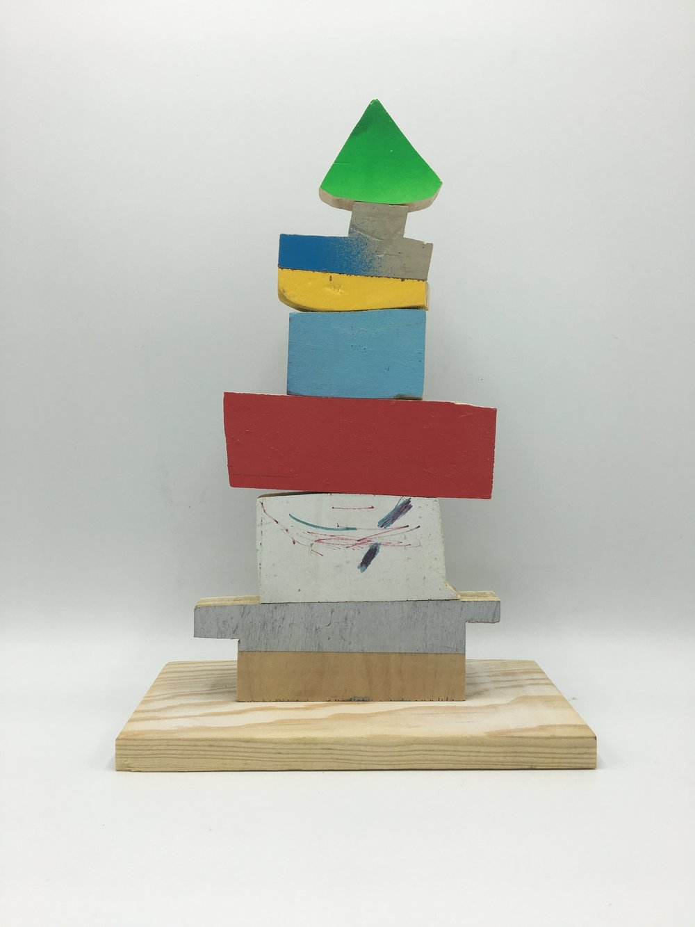 Castle , 2016   Wood, Paint, Glue    10  ½     x 7 x 4 in. $1,000