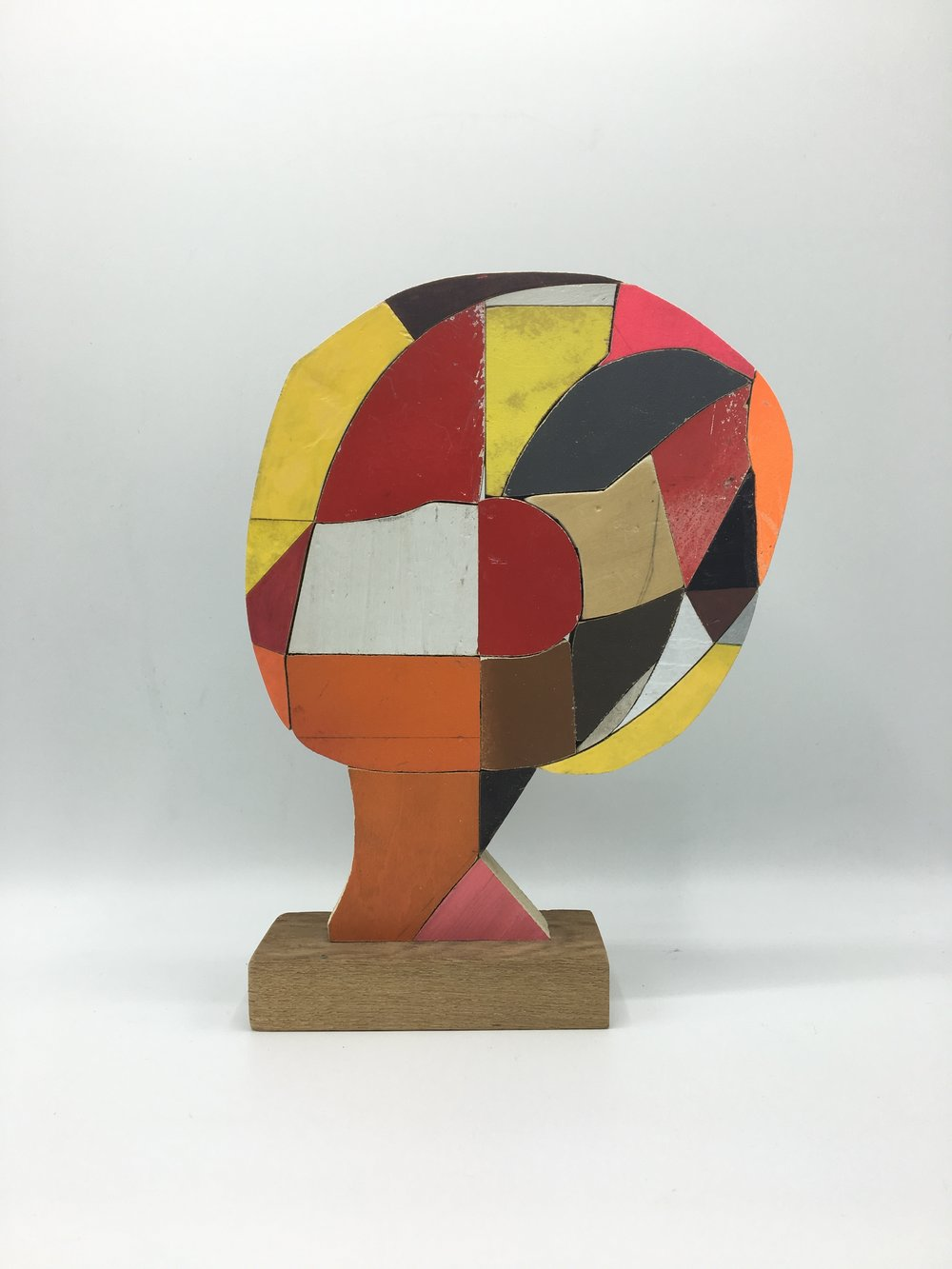 Clown , 2016  [private collection New York, NY] Wood, Paint, Glue  9 x 7 x 2 in.