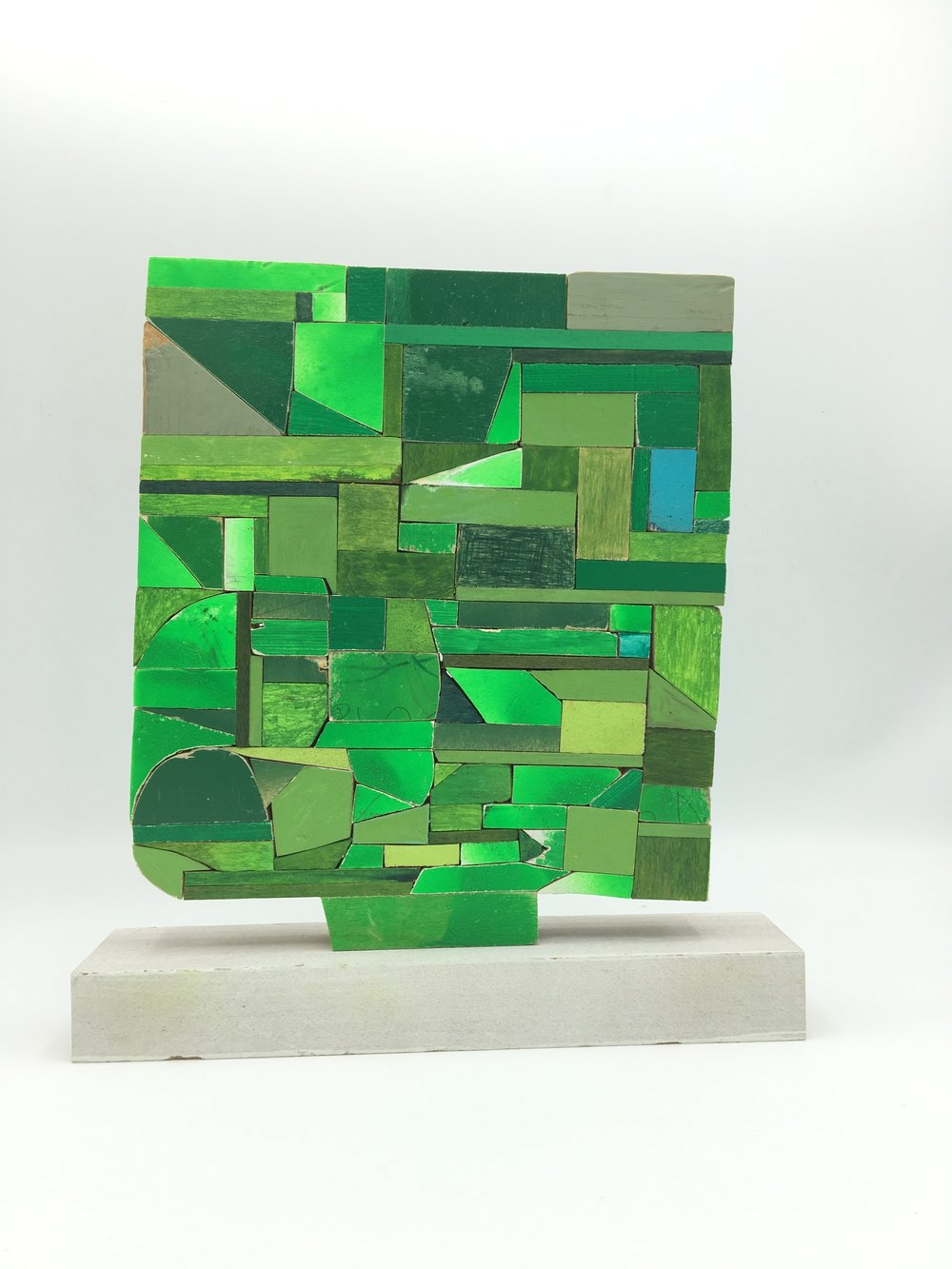 Green One, 2016 [private collection Boston, MA] Wood, Paint, Colored Pencil, Glue 10 x 9 x 2 in.