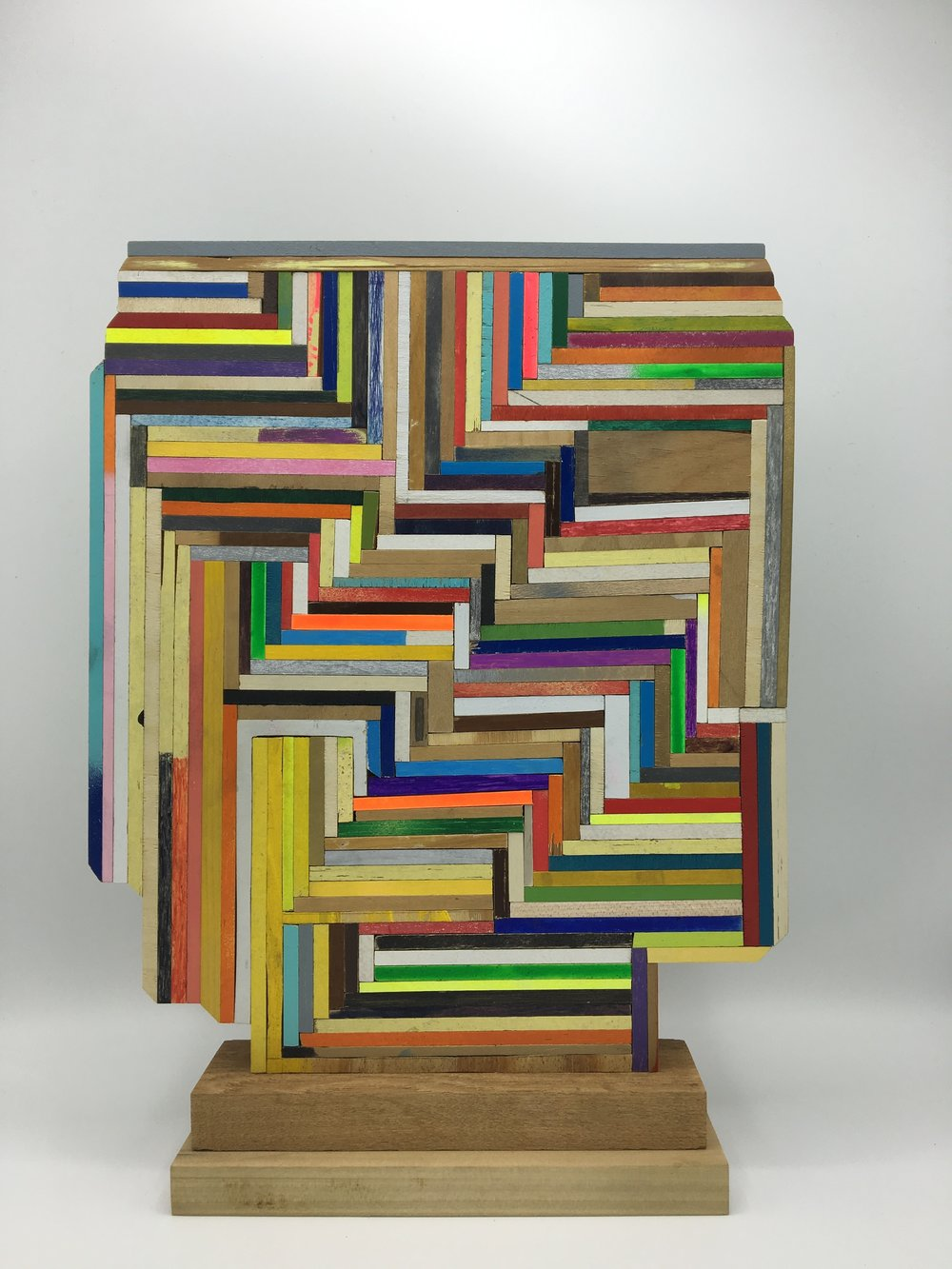 Monument , 2016  [private collection Madison, Wisconsin]  Wood, Paint, Colored Pencil, Glue   14 x 11 x 3 in.