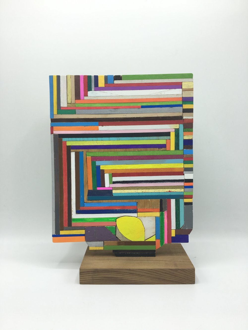 Stack , 2017  [private collection Beverly, Maine]  Wood, Paint, Glue   10 ½  x 7  ½  x 3  ½    in. SOLD