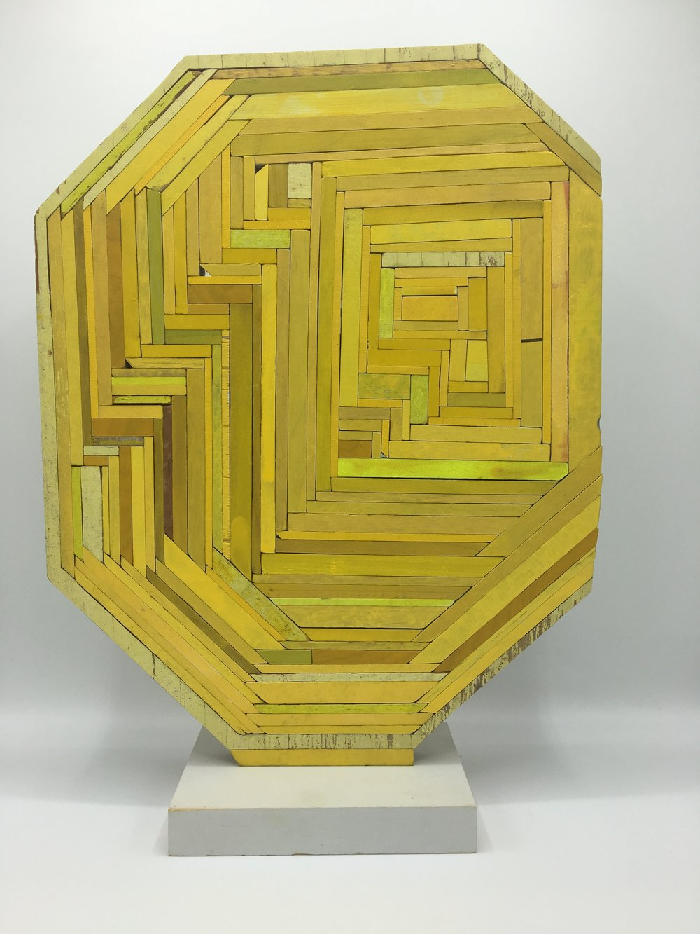 Yellow One , 2017   Wood, Paint, Glue   16  x 12   x 4   in