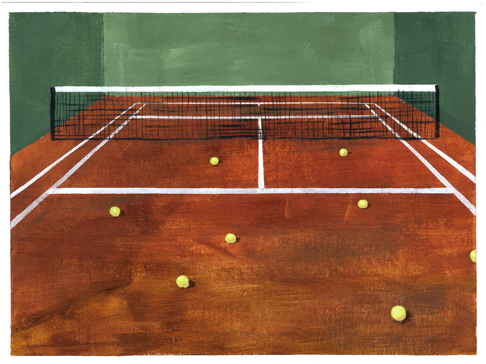 Esteban Ocampo Giraldo | Tennis | 2017 | Oil and Acrylic on Canvas | 9 x 12 in. | 14 ½ x 17 ½ in. framed