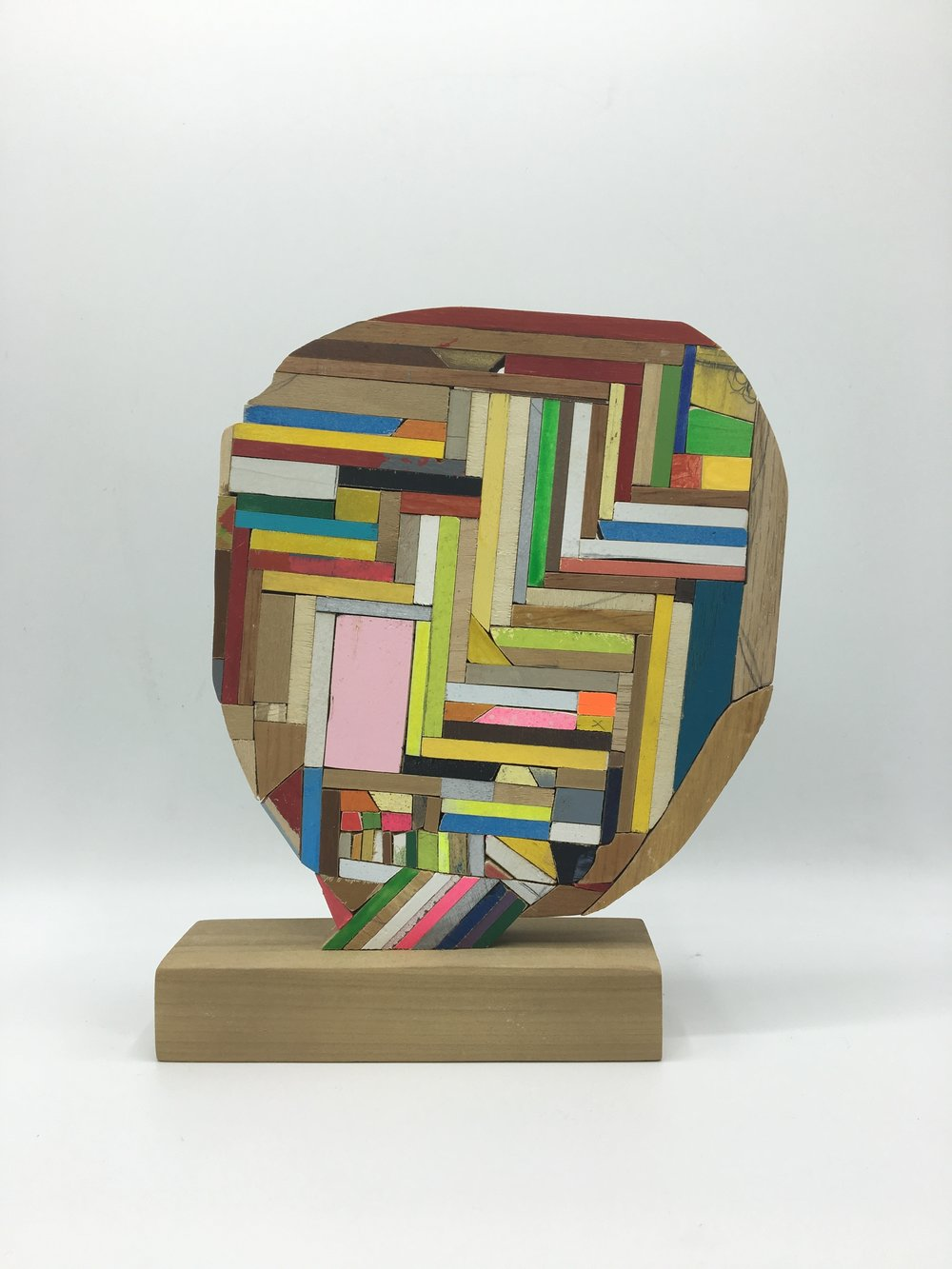 Damien Hoar de Galvan | Head | 2016 | Wood, Paint, Glue | 8 x 6 ½ x 2 in.