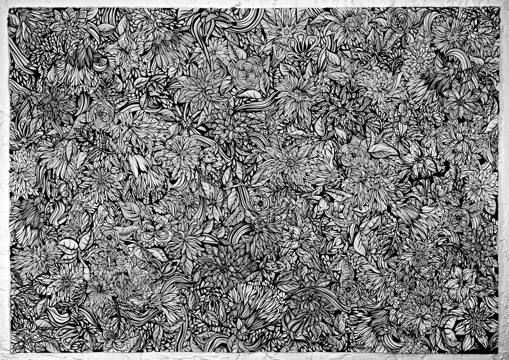 Sonja Shoemaker | Untitled | 2010 | Pen & marker on Arches | 42 x 29.5 in.