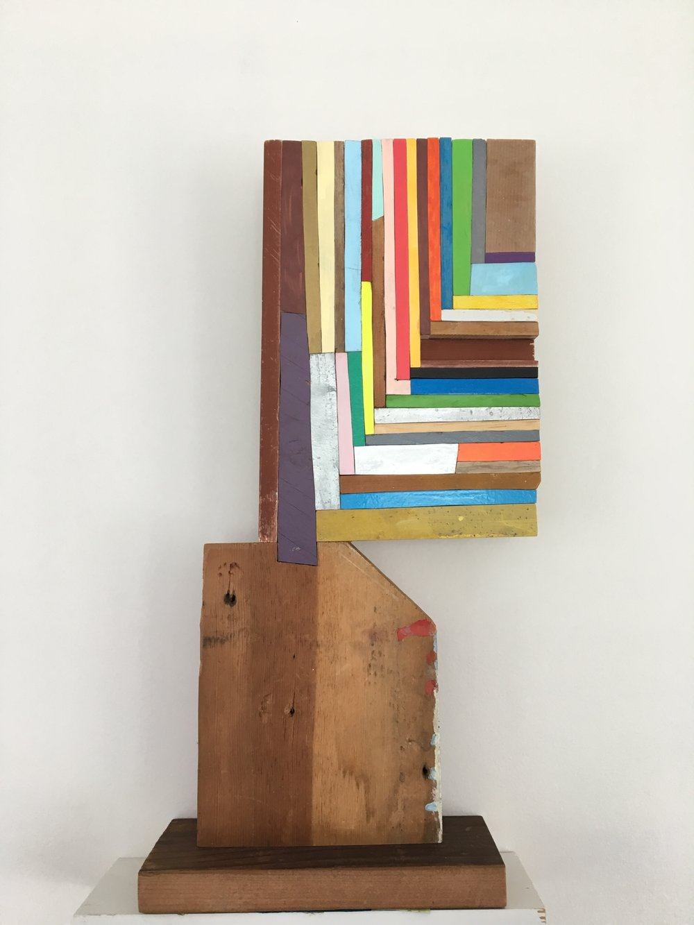 "here i am, 2018, 18"" x 8"" x 3"" wood, paint, glue $1,500"