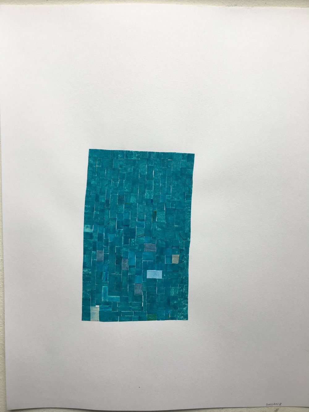 "blue shape, 2018, 13"" x 11"" (16 x 13 in. framed) collage, ink on paper $800 (SOLD)"