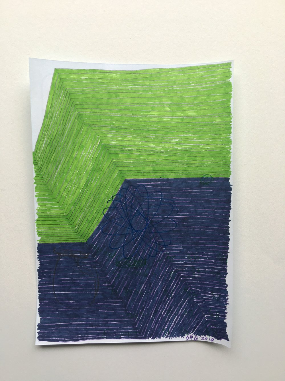 "green over blue, 2018, 7"" x 5"" (11 ½ x 9 ½ in. framed) ink on paper $600"