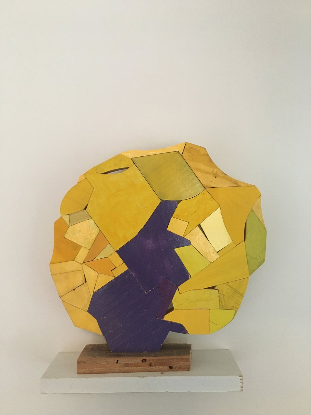 "yellow purple, 2018, 12"" x 11.5"" x 2"" wood, paint, glue $1,500"