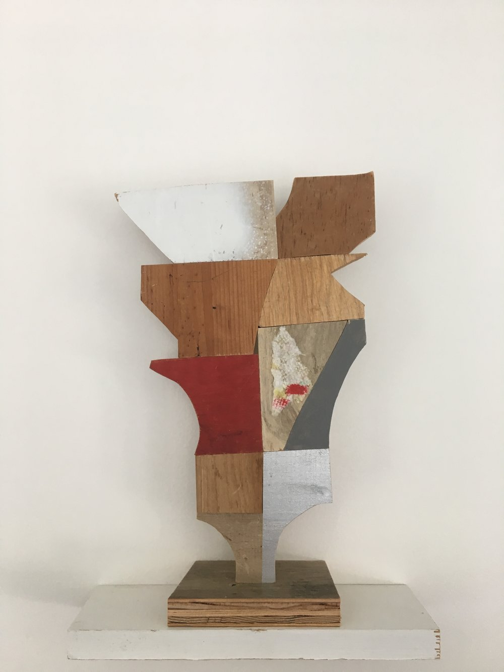 "cup,	2018, 12.5"" x 8"" x 3""	wood, paint, glue, paper towel $1,300"
