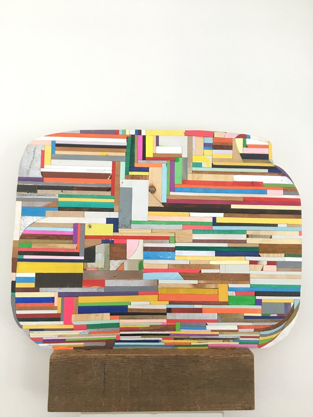 "stubborn, 2018, 20.5"" x 22"" x 3"" wood, paint, glue $3,500"