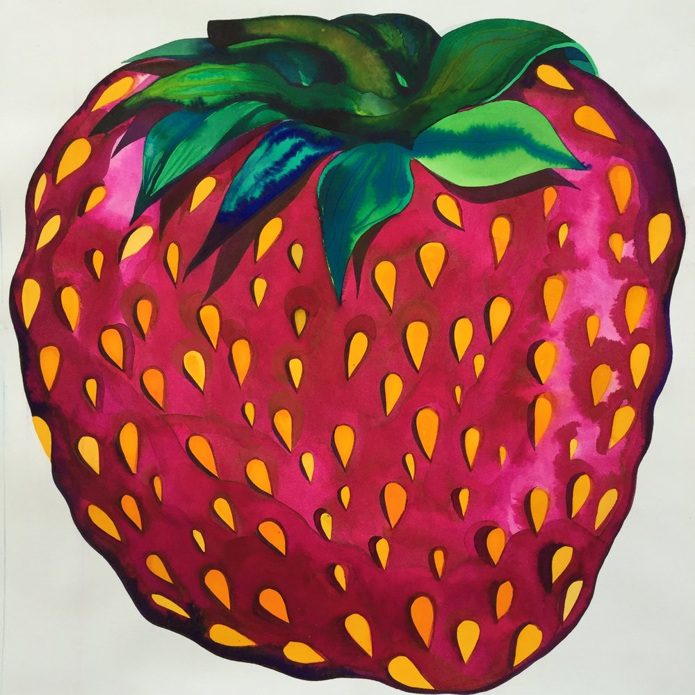 "strawberry, 2018, 19"" x 19"" watercolor on arches $1,200"