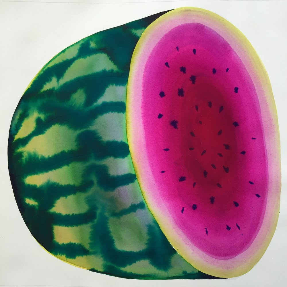 "watermelon, 2018, 19"" x 19"" watercolor on arches $1,200"