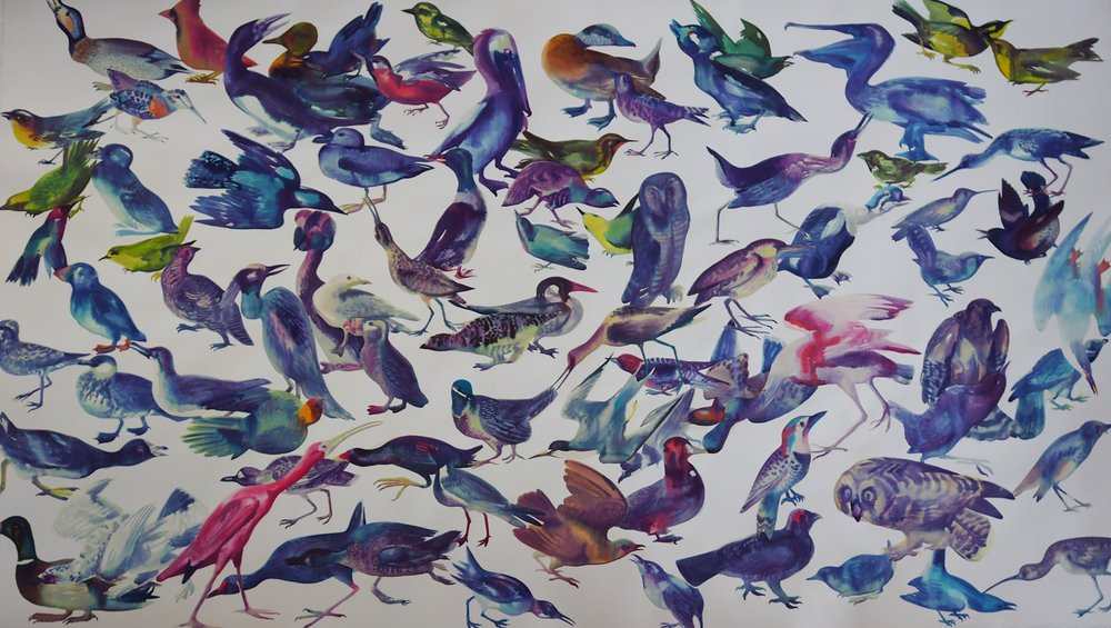 Bird Watching , 2018 43.75 x 76 in. [111.1 x 193 cms] Watercolor on arches paper $10,600 (framed)