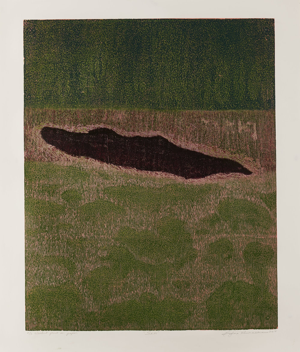 Skin 5, 2018, woodcut, image size: 24 x 19.5 in. [61 x 49.5 cms] $1,400 (unframed)