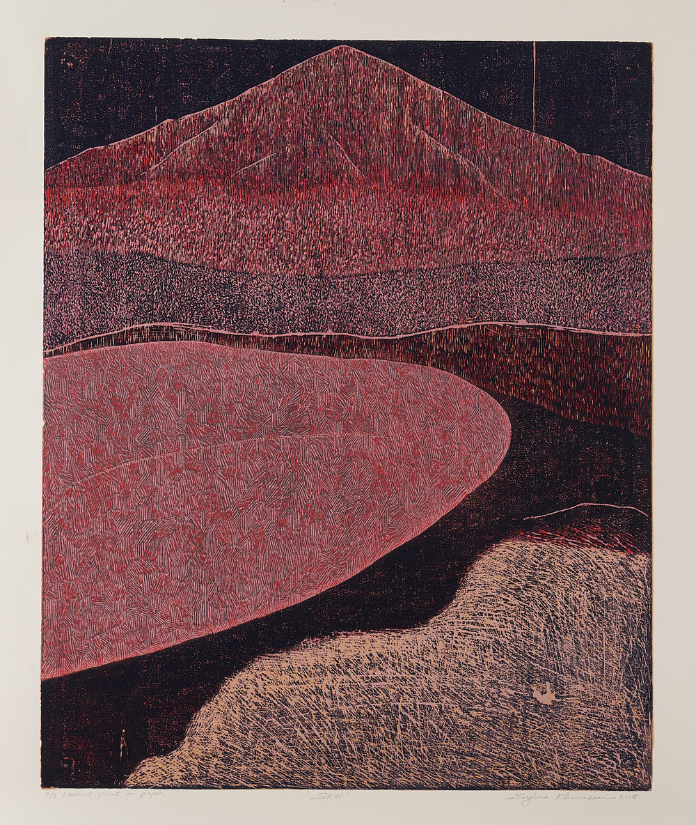 Skin 6, 2018, woodcut, image size: 24 x 19.5 in. [61 x 49.5 cms] $1,400 (unframed)