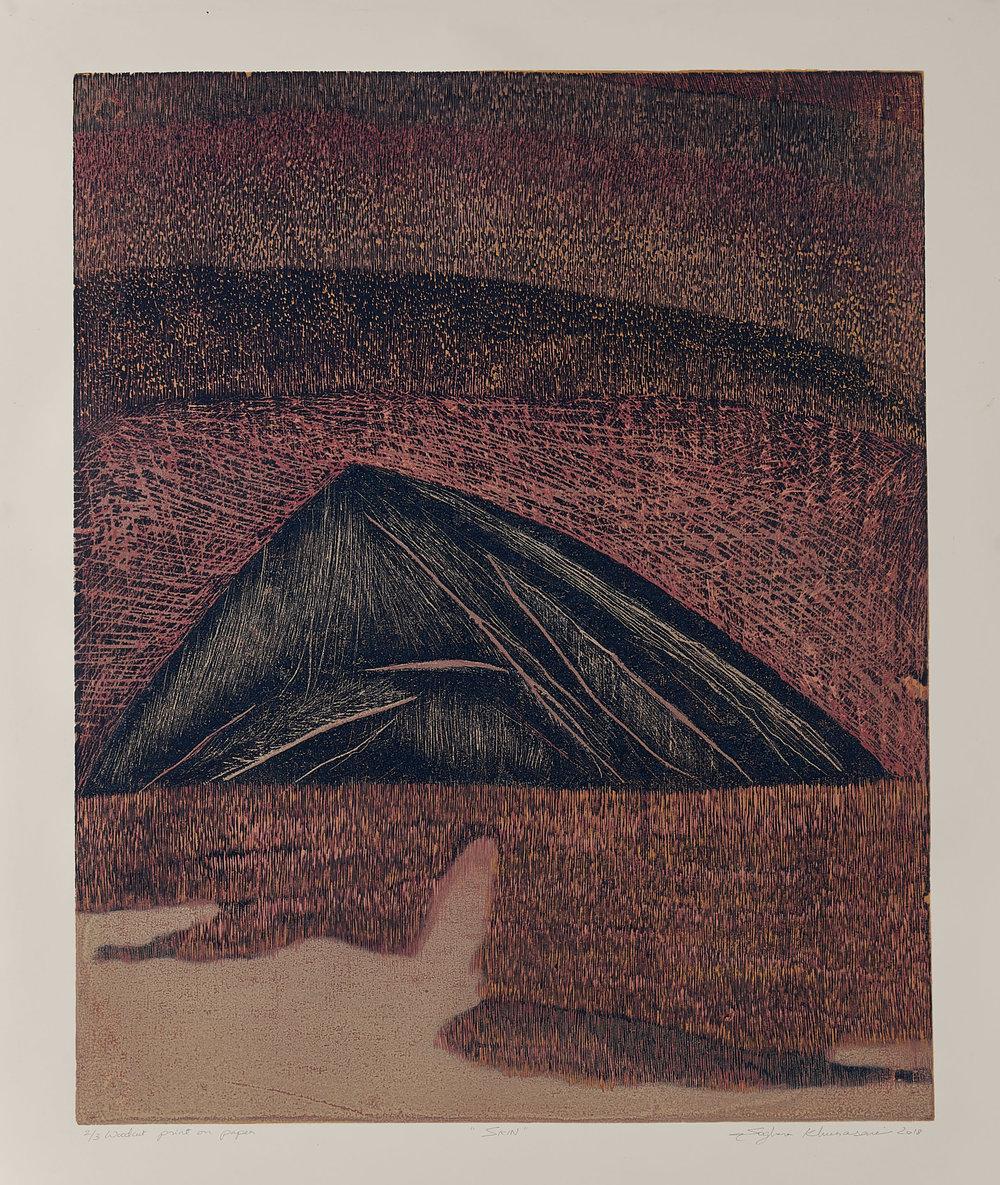 Skin 7, 2018, woodcut, image size: 24 x 19.5 in. [61 x 49.5 cms] $1,400 (unframed)