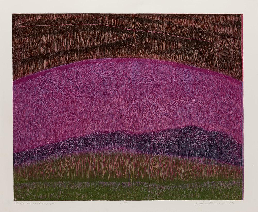 Skin 2, 2018, woodcut, image size: 19.5 x 24 in. [49.5 x 61 cms] $1,400 (unframed)