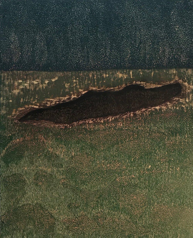 Skin 5, 2018, woodblock, 24 x 19.5 in. [61 x 49.5 cms] $2,500