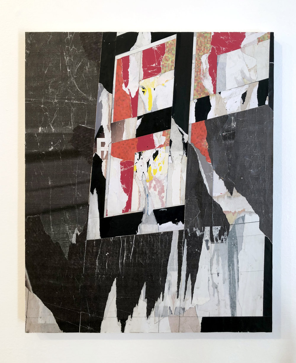 Untitled #R2, 2018, 20 x 16 in. Collage of found posters on wood panel $1,500