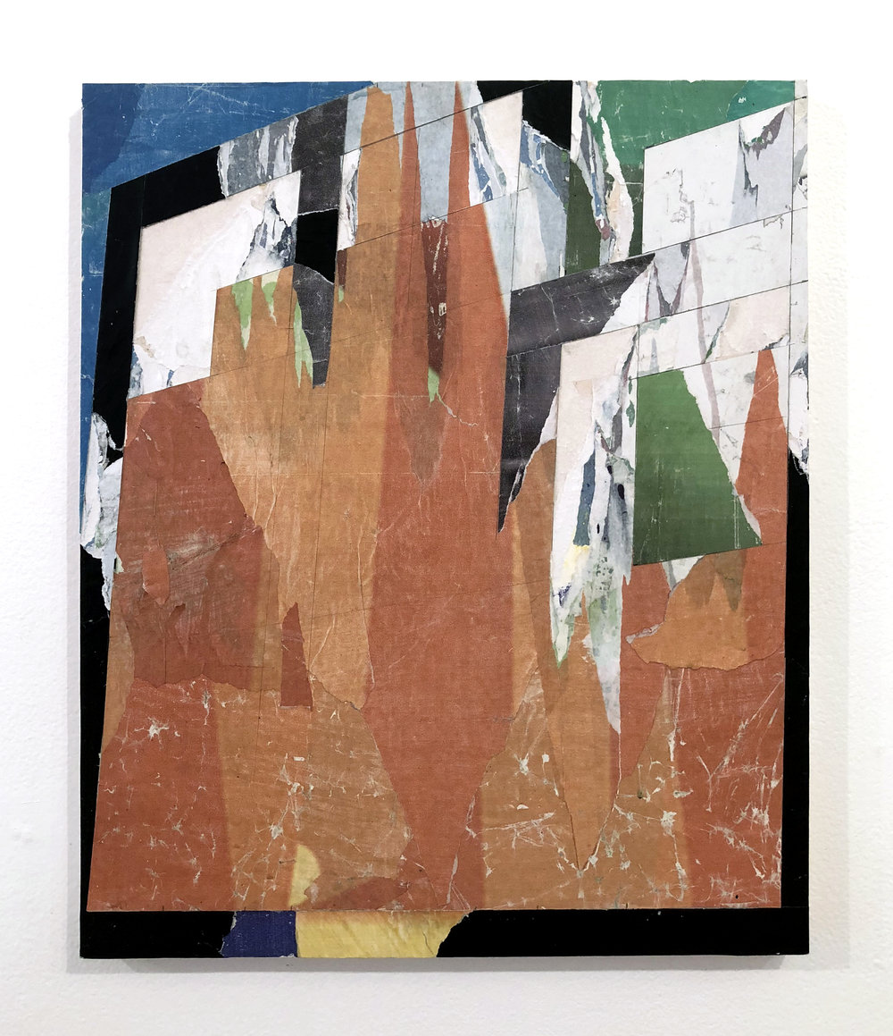 Untitled #R4, 2018, 20 x 16 in. Collage of found posters on wood panel $1,500