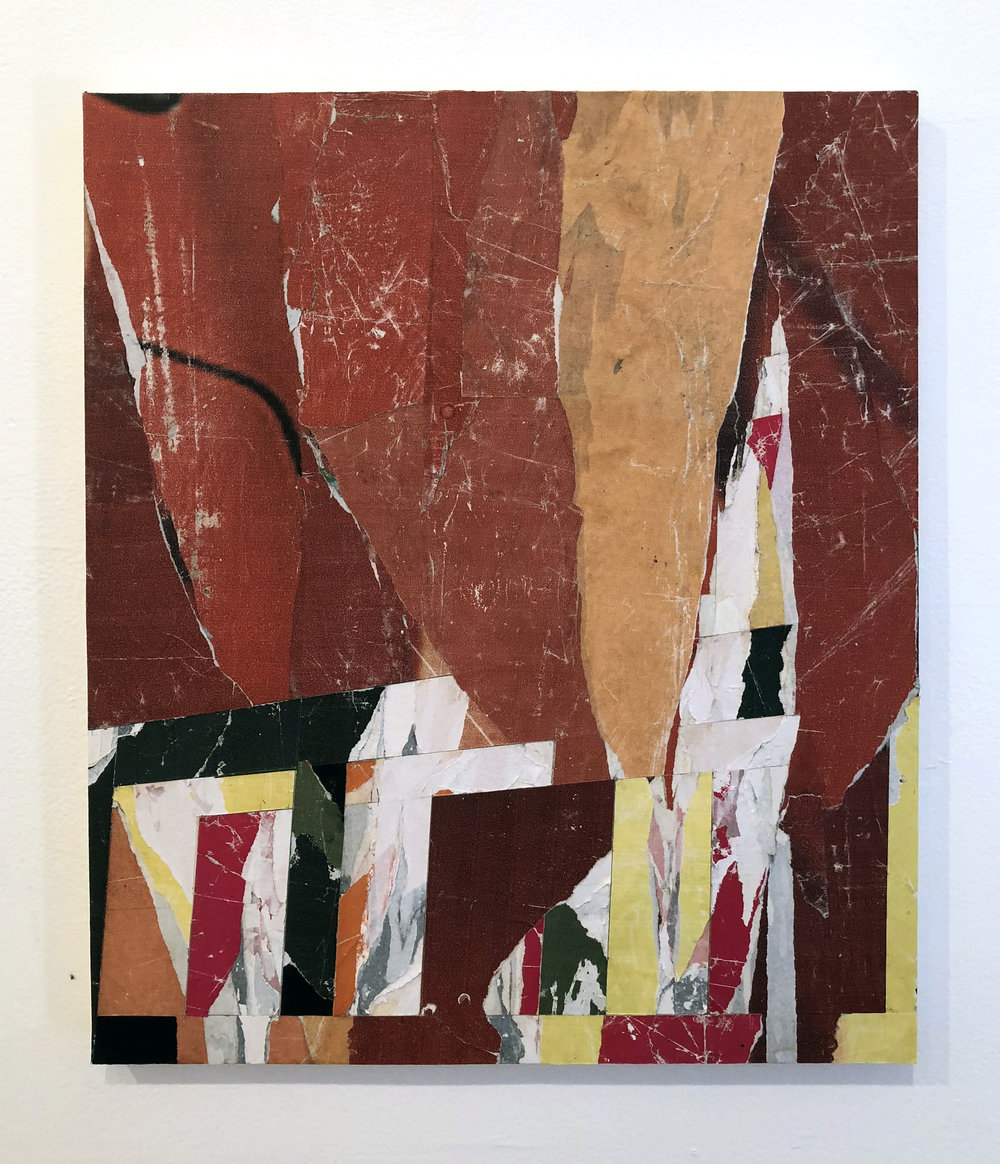 Untitled #R5, 2018, 20 x 16 in. Collage of found posters on wood panel $1,500