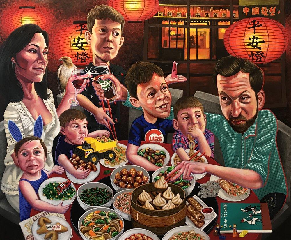 The Ehrmanns at Dinner , 2018 50 x 60 inches Acrylic on Canvas
