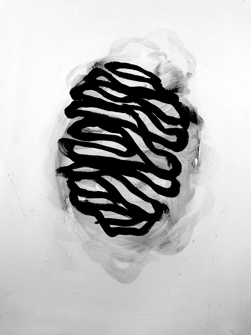 "Palimpsest, 2017, 30"" x 22"" acrylic on paper"