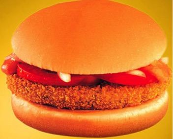 Kde:India Čo burger obsahuje: McAloo Tikki predávaný v Indii obsahuje vyprážanú zemiakovú placku, hrach, paradajky a v žemli.