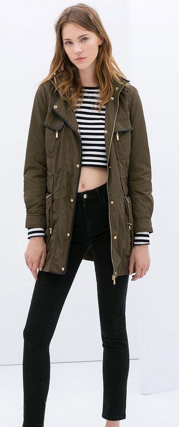 Zara lightweight khaki parka £79.99