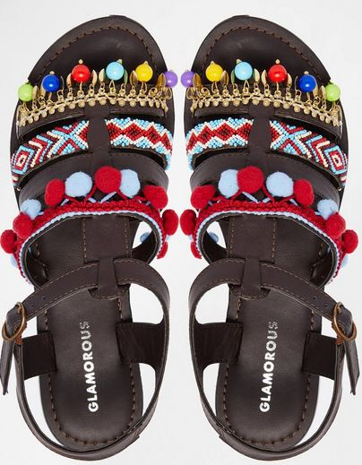 Glamorous pompom sandles, £29.00, asos