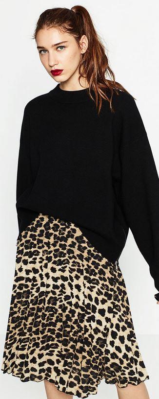 7696c626 3. Finely pleated leopard print skirt, Zara £29.99