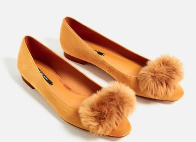 Leather Pom Pom ballerinas, £29.99, Zara