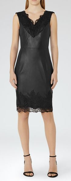Reiss Etty Black Leather dress - £245