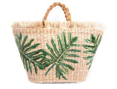 Green Palm print basket, Beach Flamingo £180.00