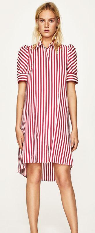 Stripe shirt dress, Zara £29.99
