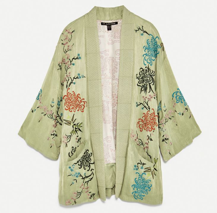 Short embroidered kimono jacket, Zara £79.99