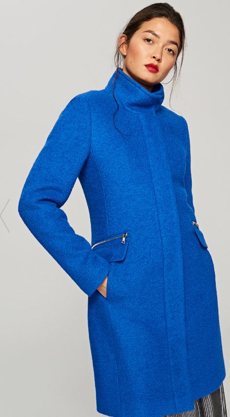 Colbalt blue boucle coat, Reserved £59.99